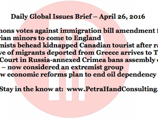 Daily Global Issues Brief - April 26, 2016 (headlines)