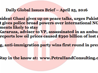 Daily Global Issues Brief - April 25, 2016 (headlines)
