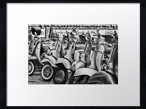 Scooters (1) 40cm x 30cm framed print, canvas print or A4, A3 moun