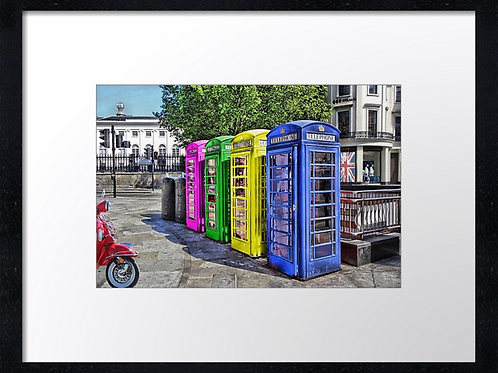 Phone boxes 40cm x 30cm framed print, canvas print or A4, A3 mounted print