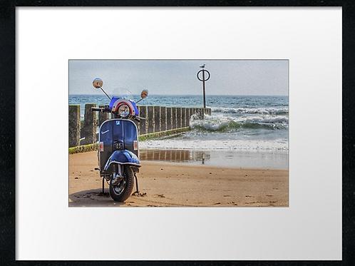 Beach scooter (5) 40cm x 30cm framed print, canvas print or A4, A3 mount