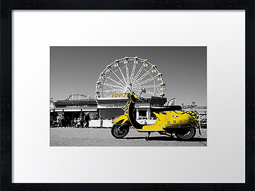 Yellow Scooter 40cm x 30cm framed print, canvas print or A4, A3 mounted p