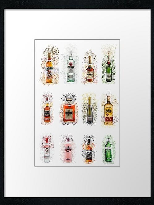 12 bottles Splatter,  example shown 40cm x 30cm framed print