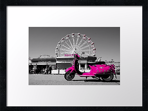 Pink Scooter 40cm x 30cm framed print, canvas print or A4, A3 mounted p