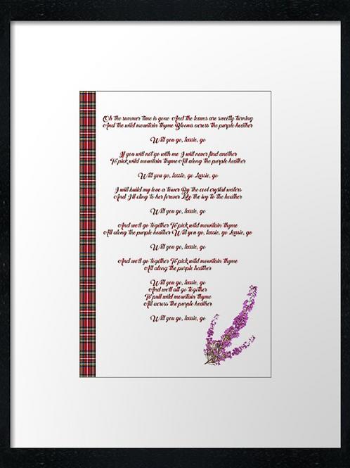 Purple Heather lyrics  40cm x 30cm framed print or c