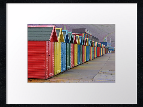 Coloured beach huts (1) 40cm x 30cm framed print or canvas print