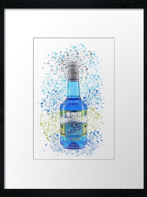 Blue Bols Splatter,  example shown 40cm x 30cm framed print