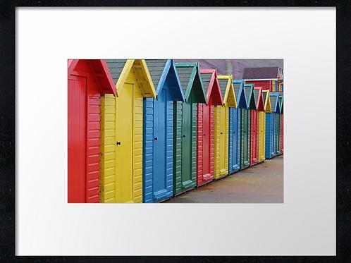 Coloured beach huts (2) 40cm x 30cm framed print or canvas print