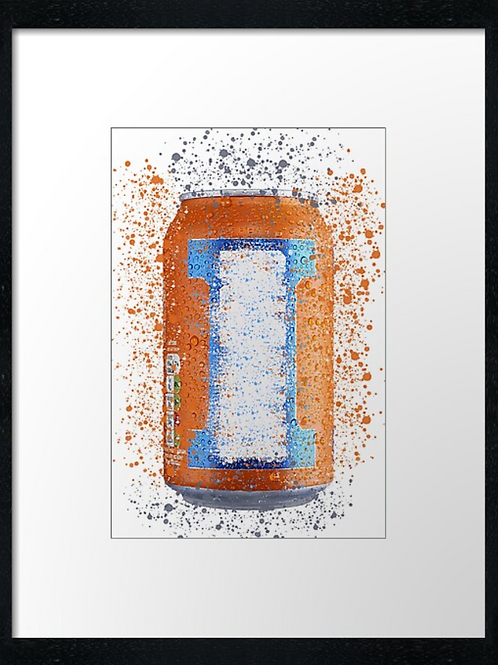 Irn Bro Tin Splatter,  example shown 40cm x 30cm framed print