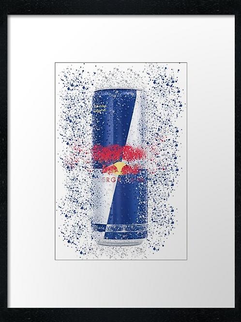 Red Bull Tin Splatter,  example shown 40cm x 30cm framed print