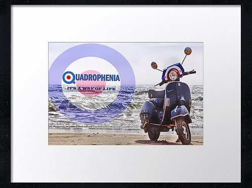 Scooter beach (1) 40cm x 30cm framed print, canvas print or A4, A3 moun
