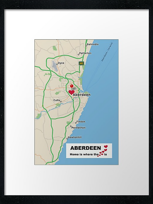 Aberdeen map. Home is where the heart is. Print or canvas print