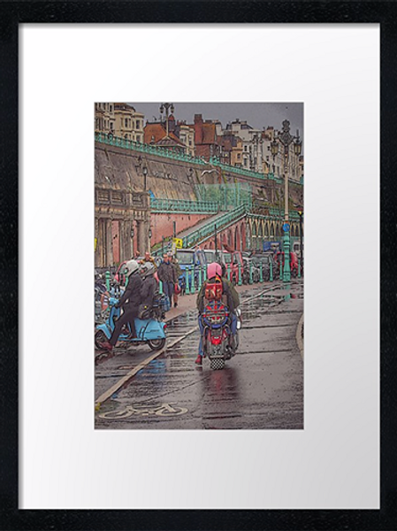 Brighton mods (1) 40cm x 30cm framed print, canvas print or A4, A3 moun