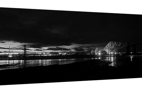 "Forth Railway Bridge 30"" x 14"" canvas print B and W"