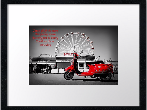 Red Scooter 40cm x 30cm framed print, canvas print or A4, A3 mounted print