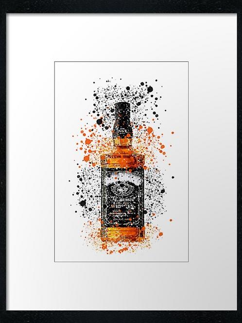 Jack Daniels Splatter,  example shown 40cm x 30cm framed print