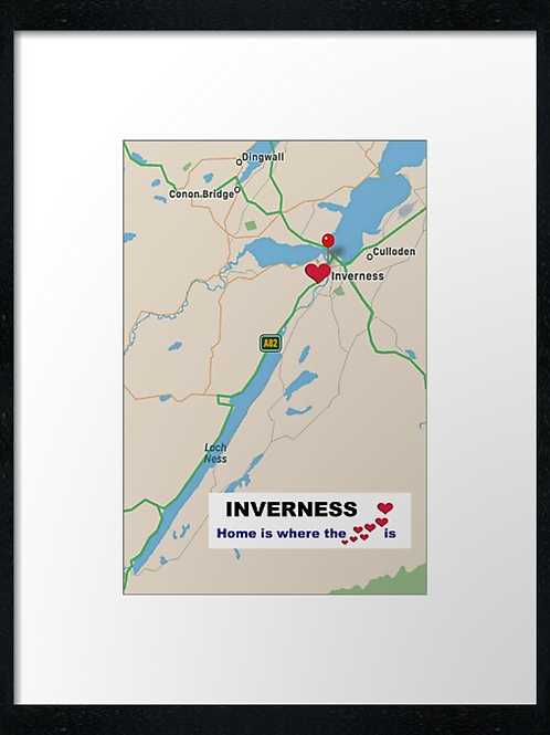 Inverness map. Home is where the heart is. Print or canvas print