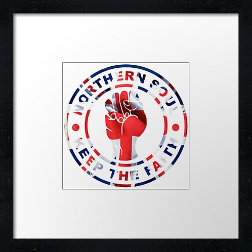 "Union Jack Fist Print or canvas print Example shown is 10"" Framed pri"