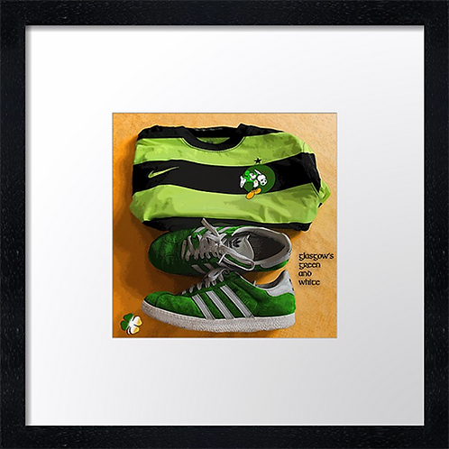 "Celtic, Glasgow's green & white. Example shown 10"" framed print £21.50"