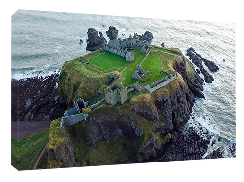 Dunnottar castle drone picture (3)  40cm x 30cm framed print or canvas p