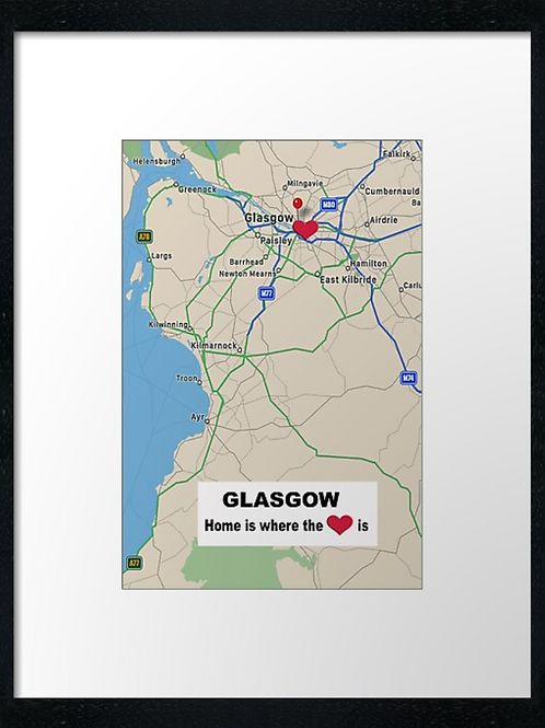 Glasgow map. Home is where the heart is. Print or canvas print