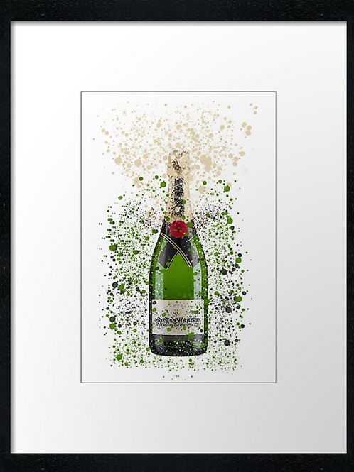Moet & Chandon Splatter,  example shown 40cm x 30cm framed print