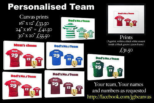 Personalised family/football prints
