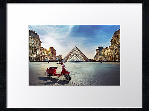 Scooter Paris 40cm x 30cm framed print, canvas print or A4, A3 mounted print