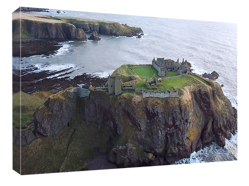 Dunnottar castle drone picture (4)  40cm x 30cm framed print or canvas p