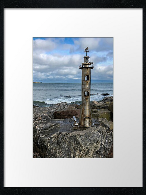 Stonehaven lighthouse statue print or canvas print