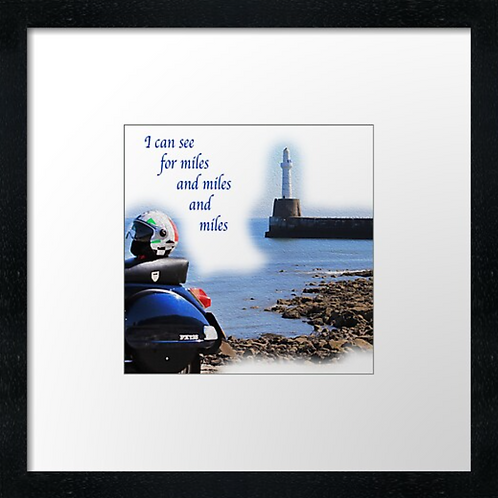 """Vespa, Miles and miles  Print or canvas print Example shown is 10"""" Fram"""