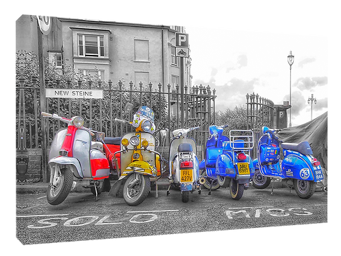 Brighton parked scooters  40cm x 30cm framed print, canvas print or A4, A3 m