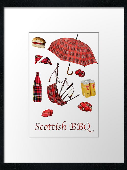 Scottish BBQ, print or canvas print. Example 40cm x 30cm framed print