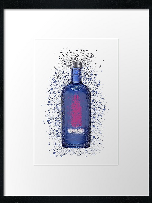 Blue Vodka Splatter,  example shown 40cm x 30cm framed print