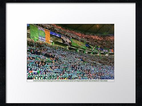Celtic fans YNWA. Example shown 40cm x 30cm framed print or canvas p
