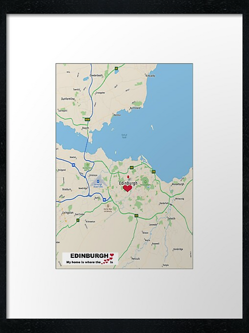 Edinburgh map. Home is where the heart is. Print or canvas print