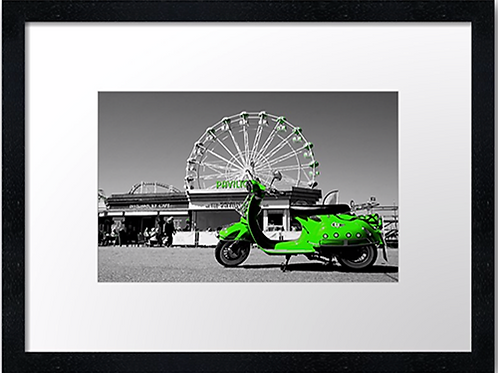 Green Scooter 40cm x 30cm framed print, canvas print or A4, A3 mounted p