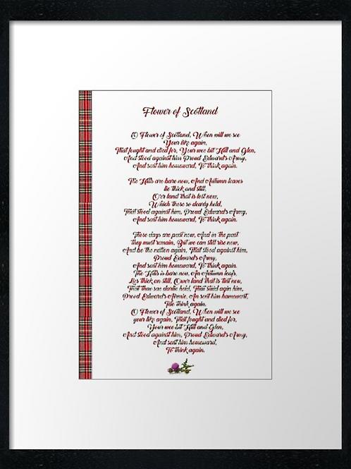 Flower of Scotland lyrics  40cm x 30cm framed print or c