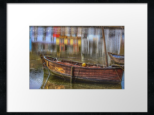 Boat betted at Tarbert print or canvas print