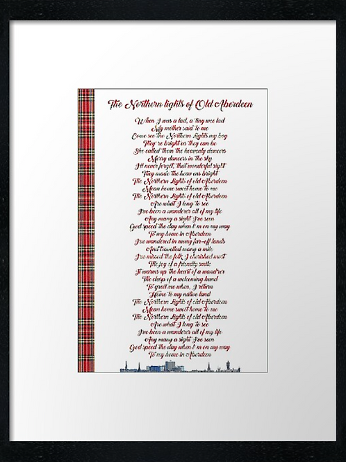 The Northern Lights lyrics  40cm x 30cm framed print or c