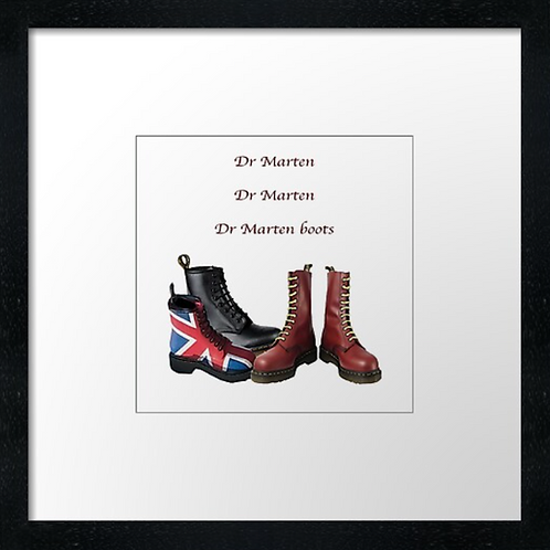 "Dr Marten Boots Print or canvas print Example shown is 10"" Framed pri"