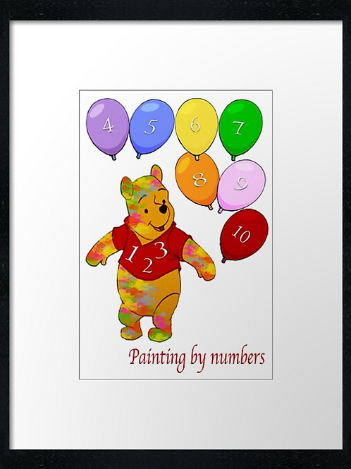 Fun learning to count example shown 40cm x 30cm framed print