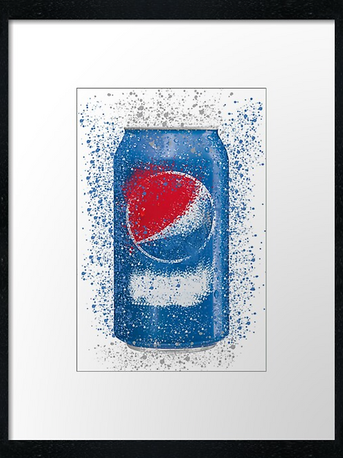 Pepsi Tin Splatter,  example shown 40cm x 30cm framed print