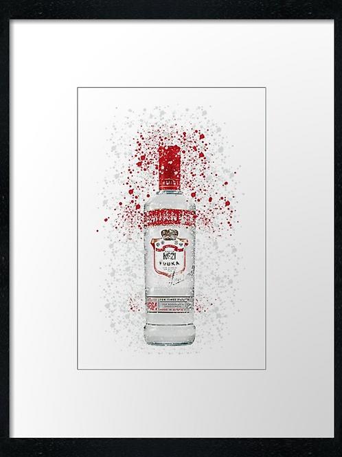 Vodka Splatter,  example shown 40cm x 30cm framed print