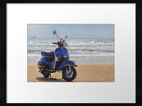 Beach scooter (3) 40cm x 30cm framed print, canvas print or A4, A3 mount