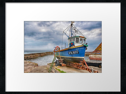 Fishing boat print or canvas print (example shown 40cm x 30cm framed print