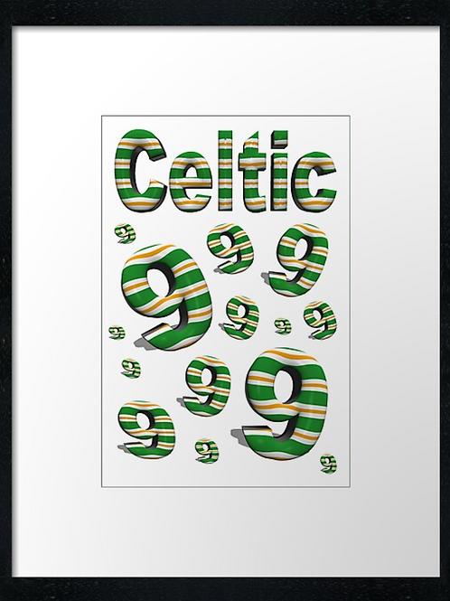 Celtic 9 in a row (5) example 40cm x 30cm framed print, canvas print or A4, A