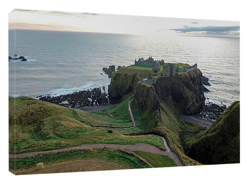Dunnottar castle drone picture (5)  40cm x 30cm framed print or canvas p