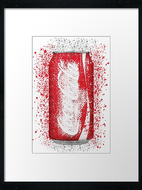 Coca Cola Tin Splatter,  example shown 40cm x 30cm framed print