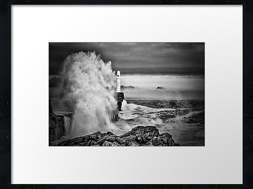 Wild waves B & W painted effect  40cm x 30cm framed print or c